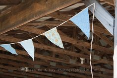 Fabric scrap pennants for decoration around picnic area.
