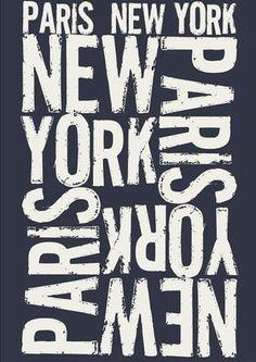 Papier peint Paris NewYork texte ecru - www.boutica-design.fr