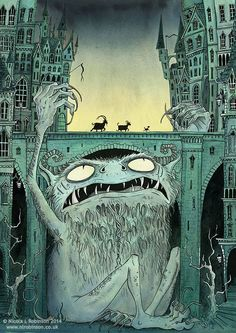 I choose this image because i like the way the illustrator makes it look like there is a big monster in a city under a bridge. Gruff, B. (2014). I <3 Monsters!. Retrieved from: http://nlrobinson.co.uk/billygoats.html