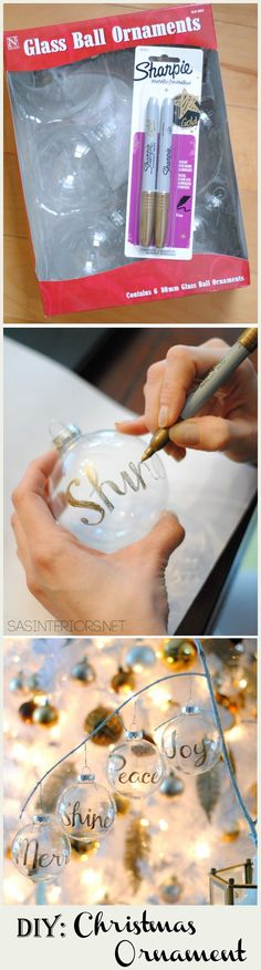 DIY: Word Christmas Ornament using a Gold Sharpie by @Jenna_Burger, www.sasinteriors.net