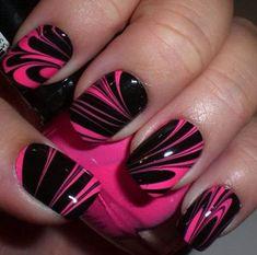 Beautiful Pink and Black Nail Designs 2017 Pink & Black Water Marble Nails. Nail Designs 2017, Black Nail Designs, Pretty Nail Designs, Nail Art Designs, Awesome Designs, Pink Black Nails, Black Nail Art, Pink Nail Art, Red Nail