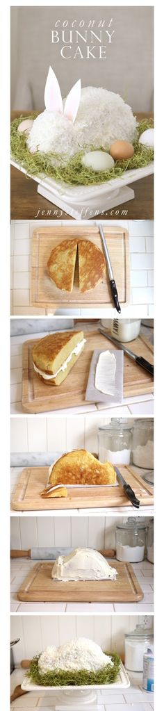 Coconut bunny cake with printable recipe via Jenny Steffens