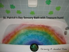 St. Patrick's day rainbow sensory bath - how fun! From Growing a Jeweled Rose and shared with the weekly Kids Co-op linky