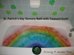 St. Patrick's Day themed sensory bath with treasure hunt