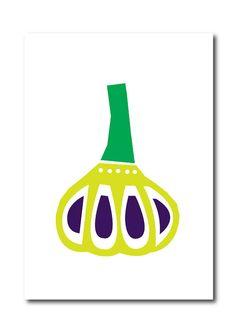 Garlic Art print Geometry Vegetable Fruit Drawings by dekanimal