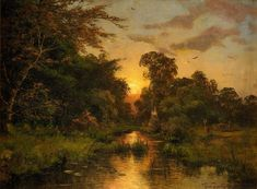 Sunset with a pond and a house by Heinrich Gogarten (1850-1911)