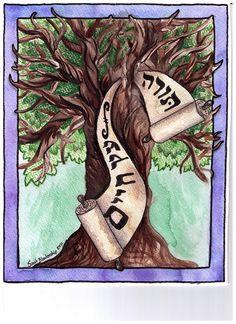 "Watercolor, Prismacolor pencil and ink; Hebrew reads ""Torah--Tree of Life"" by Sarah Blankenship  sarah@crystalpaintbrush.com"
