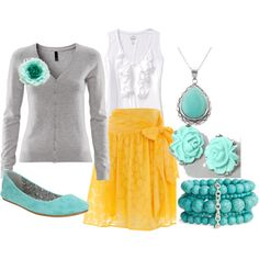 this is so pretty... i love all the colors together.. need to find a grey cardi!