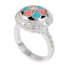 The #PrincessRing--sterling silver with cubic zirconias by #Kameleon Jewellery.  Available in sizes 5-10 at Garry's Garden Gallery in Lindsay, ON 705-324-9574 Change the center jewel pop to any of over 500 jewel pops to change the look of your ring!