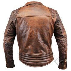 Vintage Diamond Brown Classic Retro Leather Jacket