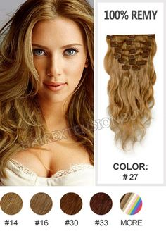 """Clip In Hair Extensions, 18"""" #27 Strawberry Blonde Wave Full Head Set Clip In Human Hair Extension [CHW0482] - www.hairextensionbuy.com"""