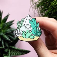 Terrarium Sloth Enamel Pin by ShopZoki on Etsy Bag Pins, Jacket Pins, Pin And Patches, Jacket Patches, Cool Pins, Pin Badges, Doodles, Lapel Pins, Pin Collection