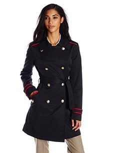 Vince Camuto Women's Double Breasted Trench Coat, Navy, Small * You can get additional details at the image link.