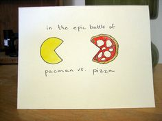 When I found out that Pacman turned 30 only days before Steve did, I had to incorporate the little guy into a card. and pizza. because steve and pacman are just as awesome as pizza. Pizza Art, Birthday Cards, Awesome, Bday Cards, Birthday Greetings, Anniversary Cards, Congratulations Card