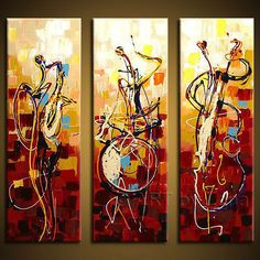 A COLOR INFUSION CELEBRATING THE MOVEMENT OF THE MUSIC OF JAZZ. THREE MUSICIANS PLAY & CREATE BEAUTIFUL MUSIC TOGETHER EXPRESSING THE MOVEMENT OF JAZZ. - THIS ABSTRACT MODERN ART PIECE IS HAND PAINTED