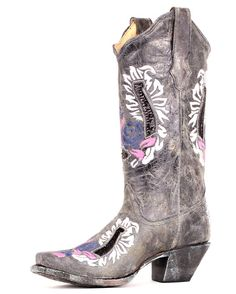Corral Distressed Grey & Blue/Pink Floral Stitch Cowgirl Boot  http://www.countryoutfitter.com/products/27511-womens-distressed-grey-and-blue-pink-floral-stitch-boot-r2523