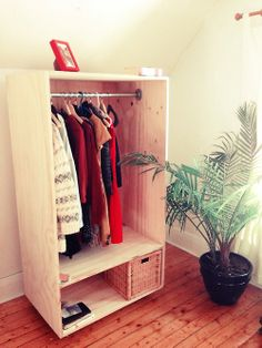 "Some DIY from the weekend: Free standing closet on wheels using 3/4"" fir (good one side). via periodicai.com"