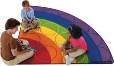 Rainbow Rows Corner Classroom Rug 6'