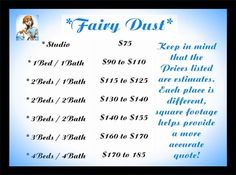 fairy dust price list
