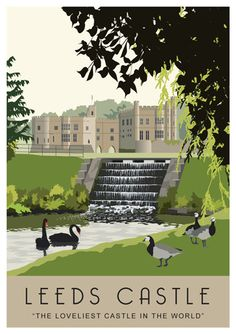 """The Loveliest Castle in the World"". A beautiful illustration of the wonderful Leeds Castle, Kent, England Posters Uk, Railway Posters, Poster Ads, Illustrations And Posters, Places To Travel, Places To Visit, Castle Painting, Leeds Castle, British Travel"