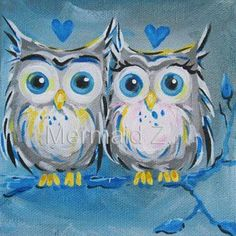 Hand painted Love Owls Blue Valentine Animal Home Decor Oil Painting On  Canvas Abstract cartoon animal oil paintings for kids-in Painting &  Calligraphy from Home & Garden on Aliexpress.com | Alibaba Group #OilPaintingForKids #OilPaintingBlue #owlcanvaspainting