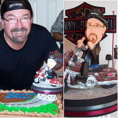 Adult party Birthday Look alike cake topper original from Kharygoarts www.kharygoart.com  #motorcycle #birthday #caketopper #partyideas