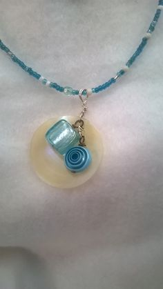 Aqua Beaded Necklace Seashell Vintage, Prom Teen Gift for Her Wiser Owl's Nest by Wiserowlsnest on Etsy