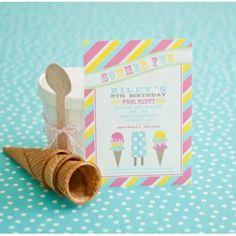 Summer Fun Ice Cream Party Printable Invitation