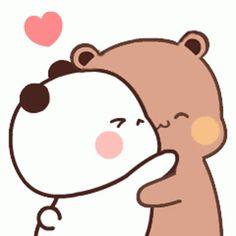 Cute Bunny Cartoon, Cute Kawaii Animals, Cute Couple Cartoon, Cute Cartoon Pictures, Cute Love Pictures, Cute Friend Pictures, Cute Love Gif, Cute Anime Cat, Cute Love Cartoons