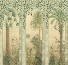 Trellis Exotica - These exotic trees and landscapes with intense birdlife are set in a Louis