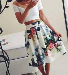 Choies Design Limited Blue Floral Print Visco-Elastic A-line Skirt – Fashionista Ideas