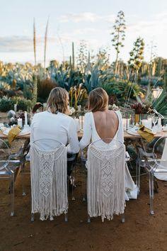 Boho wedding with macrame draped chairs for bride & groom