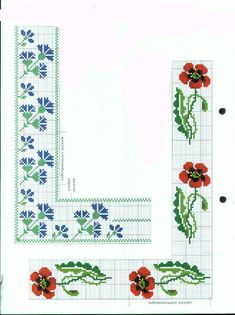 Borders in cross stitch (free pattern) Cute Cross Stitch, Cross Stitch Borders, Cross Stitch Alphabet, Cross Stitch Flowers, Cross Stitch Charts, Cross Stitching, Cross Stitch Embroidery, Cross Stitch Patterns, Crochet Flower Patterns