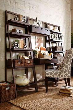 Love this storage ladder and desk.