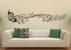 Music Butterfly Abstract Wall Stickers Decals for Modern Living Room Interior Design Ideas