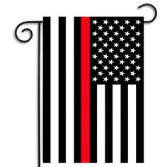 """Vibrant Law Enforcement Decorative Garden Flag. Thin Red Line Decor. Size: 12.5"""""""" x 18"""""""". Professionally Designed Firefighter Graphics By Our Brotherhood®Products Design Team. A Sewn Pole Pocket To Fi"""
