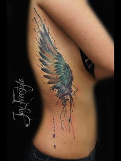 Wing tattoo - Jay Freestyle by JayFreestyle on DeviantArt Side Tattoos, Body Art Tattoos, Cool Tattoos, Tatoos, Wing Tattoos On Back, Wing Tattoo Designs, Best Tattoo Designs, Krebs Tattoo, Tattoo Und Piercing