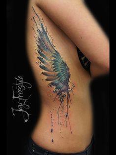 Wing tattoo - Jay Freestyle by JayFreestyle on DeviantArt Tattoos Torso, Side Tattoos, Body Art Tattoos, Cool Tattoos, Tatoos, Krebs Tattoo, Tattoo Collection, Brust Tattoo, Tattoo Und Piercing