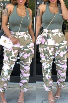 Roaso Casual Mid Waist Camouflage Printed Pants S Pink Black Women Fashion, Womens Fashion, Casual Tie, T Shirt And Shorts, Pink Camo, Cotton Pants, Printed Pants, Wholesale Clothing, Shoes Wholesale