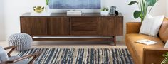 Functional and beautiful, this handcrafted media console brings retro nostalgia to any living space while offering ample and creative storage options. Family Room Design, Interior Design Living Room, Creative Storage, Mid Century Style, Walnut Wood, Built Ins, Great Rooms, Living Spaces, Nostalgia