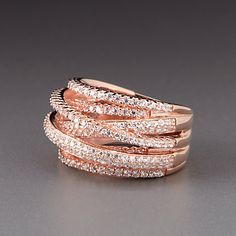 Rose Gold Layered Bands of CZ by Lenox