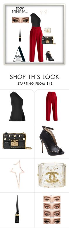 """""""Inverted Triangle Shape- Edgy"""" by jess-thomas14 on Polyvore featuring Brandon Maxwell, RED Valentino, Gucci, Diane Kordas, Chanel, Christian Louboutin and Murphy"""