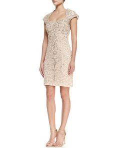 Cap-Sleeve Embroidered Lace Cocktail Dress, Blush by Sue Wong at Neiman Marcus.