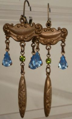 Nouveau Aquamarine Solid Brass Earrings by OldSoulAdornments, $25.00
