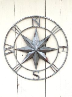 Silver Compass Metal Compass Wall Art Metal Wall by honeywoodhome