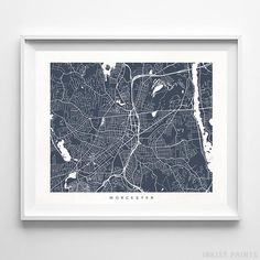 Worcester Massachusetts Street Map Wall Decor Poster. 70 Color Options. Prices from $9.95. Available at InkistPrints.com - #streetmap#map #homedecor #walldecor #Worcester #Massachusetts