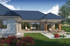 Projekt Domena 111 B 205,85 m2 - koszt budowy - EXTRADOM Modern Bungalow House, Modern House Facades, Bungalow Exterior, Exterior House Colors, Exterior Design, House Plans Mansion, New House Plans, Dream House Plans, Beautiful Front Doors