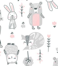 Decorate baby's room with nursery fabric prints for bedding, clothing or decor. Our nursery fabric is available in a variety of cute patterns & styles to match your theme. Nursery Fabric, Baby Fabric, Cotton Fabric, Animal Nursery, Nursery Art, Textile Patterns, Print Patterns, Baby Illustration, Animal Illustrations