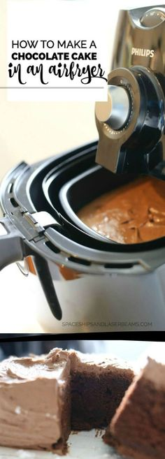 How to Make a Chocolate Cake in an Air Fryer via @spaceshipslb (party desserts ovens)