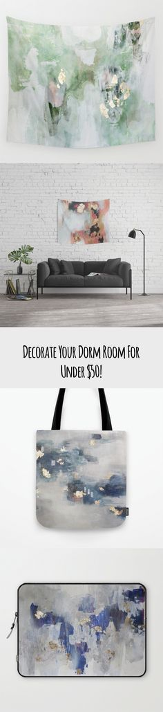 Decorate your dorm room for Under $50! That's right dorm decor all for less than the cost of a single textbook! Throw Pillows, Tapestries, book bags, laptop sleeves, art prints and more!